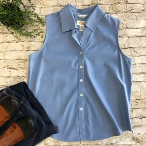 TALBOTS Sleeveless Blue Button Up Blouse SZ 8